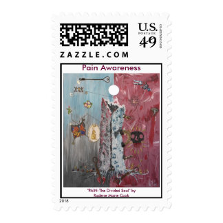 """Pain Awareness Art, """"PAIN-The Divided Soul"""" ... Postage Stamp"""