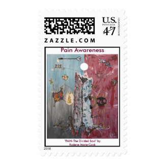 "Pain Awareness Art, ""PAIN-The Divided Soul"" ... Postage Stamp"