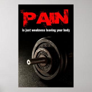 Pain Bodybuilding Fitness Inspirational Dumbell Poster