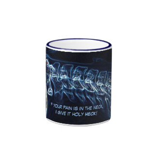 """Pain in neck.."" (blue) chiropractic mug version 1"