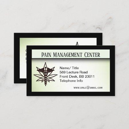 Pain Management Medical Marijuana Doctor Business Card
