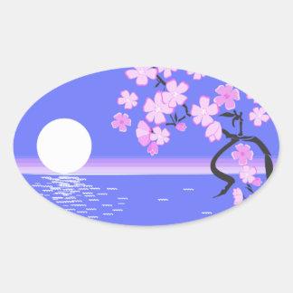 paint-40242 paint moon flowers ocean art picture m oval sticker