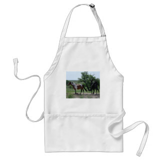 Paint and Black Horses Adult Apron
