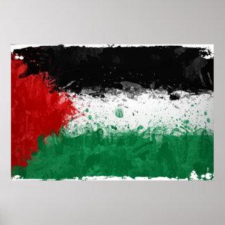 Paint Art Grunge Palestine Flag Poster