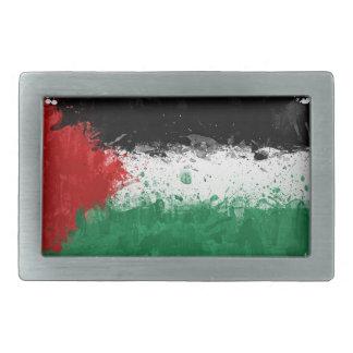 Paint Art Grunge Palestine Flag Rectangular Belt Buckle