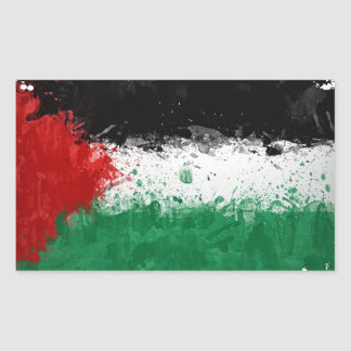 Paint Art Grunge Palestine Flag Rectangle Stickers