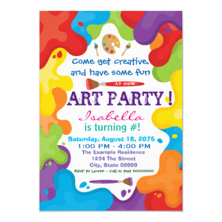 art party invitations & announcements | zazzle, Party invitations