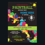 """PAINT BALL PAINTBALL INVITE KIDS BIRTHDAY PARTY<br><div class=""""desc"""">Fun PaintBall Party invite. Perfect for any age Boy or Girl&#39;s Birthday party...  SIMPLY CHANGE THE TEXT TO SUIT YOUR PARTY. Back print included.</div>"""