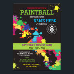 "PAINT BALL PAINTBALL INVITE KIDS BIRTHDAY PARTY<br><div class=""desc"">Fun PaintBall Party invite. Perfect for any age Boy or Girl's Birthday party... 