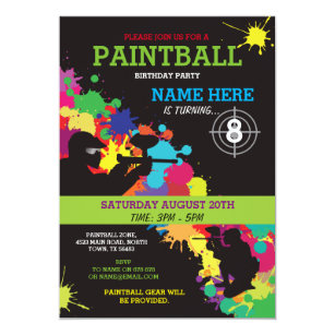PAINT BALL PAINTBALL INVITE KIDS BIRTHDAY PARTY