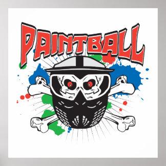 Paint Ball Skull Poster