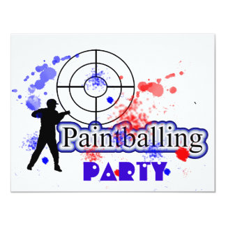 "Paint Balling Party Red and Blue Paint Splats 4.25"" X 5.5"" Invitation Card"