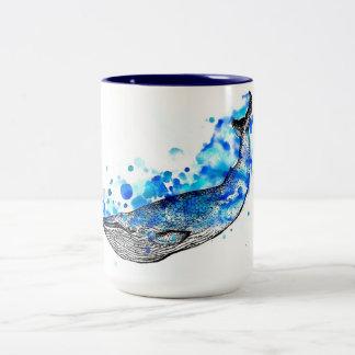 Paint Blotch Whale Two-Tone Coffee Mug