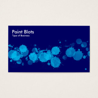 Paint Blots - Sky Blue on Navy Business Card