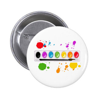 paint box with splatters 2 inch round button