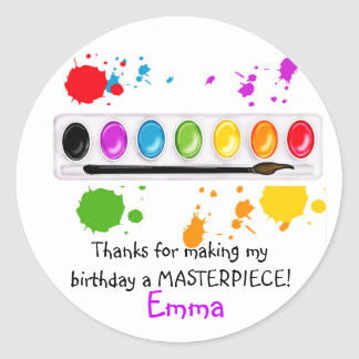 paint box with splatters classic round sticker
