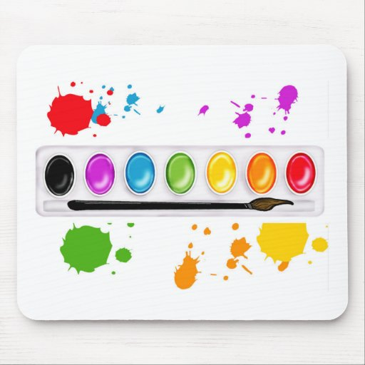 paint box with splatters mouse pad