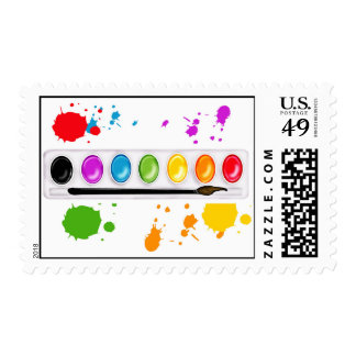 paint box with splatters Postage Stamps