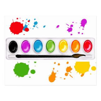 paint box with splatters postcard