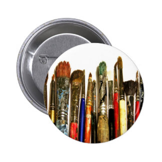 Paint Brush 2 Inch Round Button
