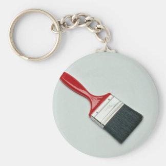 Paint brush basic round button keychain