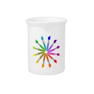 Paint Brush Color Wheel, Art Teacher color theory Beverage Pitcher