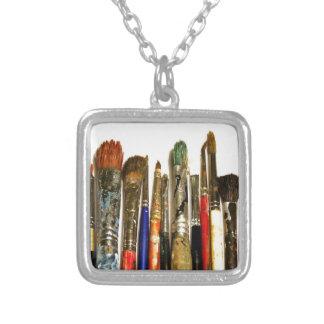 Paint Brush Square Pendant Necklace