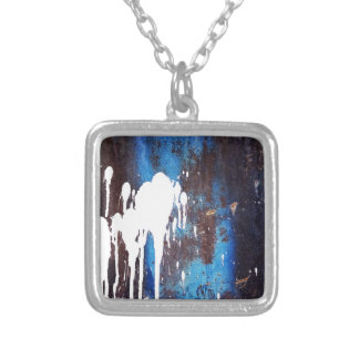 Paint Brush Strokes Abstract rainbow Metal Sheet R Silver Plated Necklace