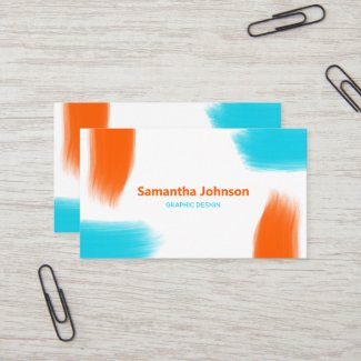 Paint Brush Strokes Blue Orange Minimalist Business Card