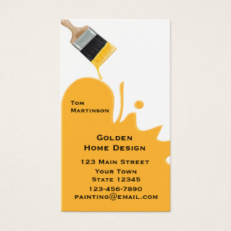 Paint Brush, Yellow, Business Card