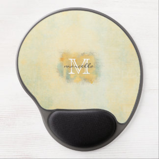 Paint Brushed Yellow Monogram Gel Mouse Pads