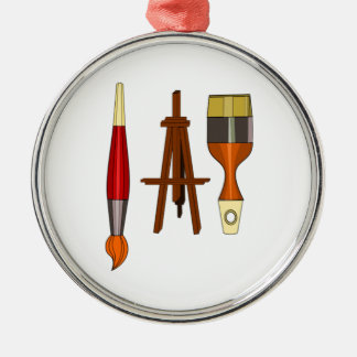 Paint Brushes and Art Easel Metal Ornament