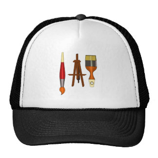 Paint Brushes and Art Easel Trucker Hat