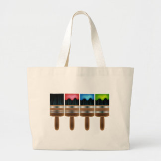 Paint Brushes Dipped Colors Large Tote Bag