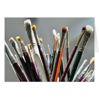 Paint brushes drying in the sunlight card