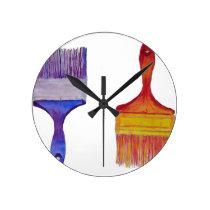 paint brushes round clock
