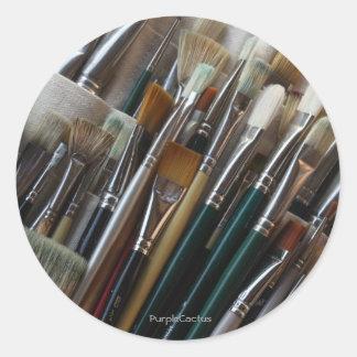 Paint Brushes Round Stickers