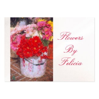 """""""PAINT BUCKET WITH COLORFUL FLOWERS"""" LARGE BUSINESS CARD"""