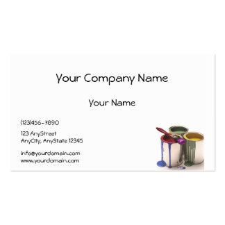 Paint Cans in Red Green Yellow at Lower Corner Business Card