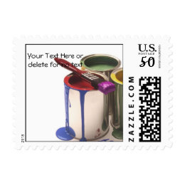 Paint Cans in Red Green Yellow Lower Right Corner Postage