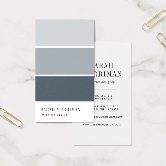Business Cards Interior Design paint chip | editable color interior designer business card