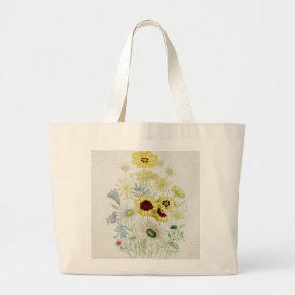 Paint Chrysanthemum Flower Bouquet Vintage Script Bags
