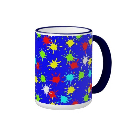 Paint Color Splashes Coffee Cup Mug on Blue
