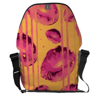 Paint Dripping Pink Lips Courier Bag