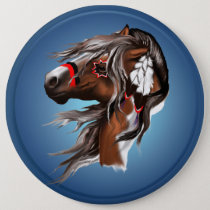 Paint Horse and Feathers Button