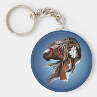 Paint Horse and Feathers Keychain