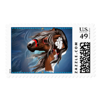 Paint Horse and Feathers Postage