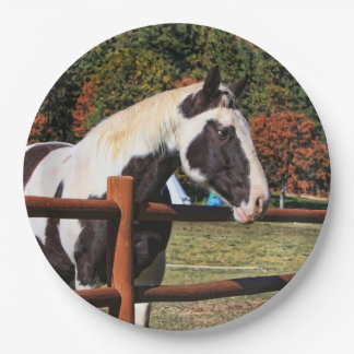 PAINT HORSE AND RAIL FENCE PAPER PLATE