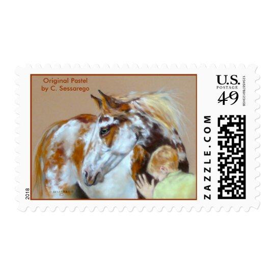 Paint Horse boy child art animal wild domestic Postage