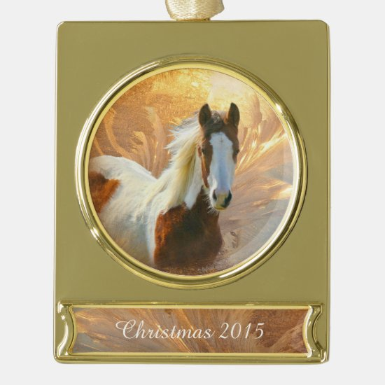 Paint Horse Christmas Gold Plated Banner Ornament